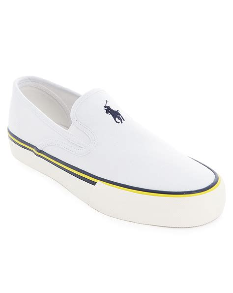 polo ralph white canvas slip on shoes in white for