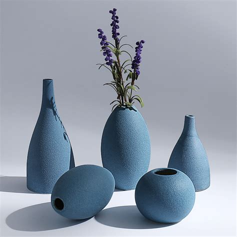 Tabletop Vases by Blue Black Gray 3colors European Modern Frosted Ceramic