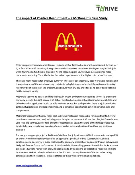 mc donalds recruitment study