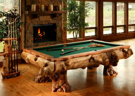 Unique Log Billiard Tables From Aspen Rustic Home Design Unique Pool Tables