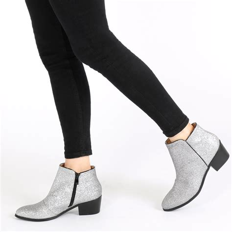 Boots E Glitter Putih New new womens zip up western style block heel glitter ankle