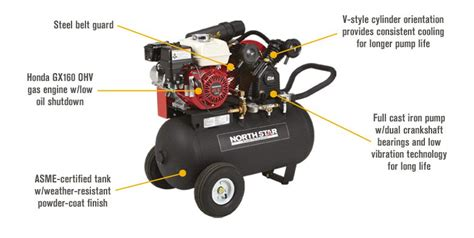 northstar portable gas powered air compressor 20 gal hor tank 13 7 cfm 90 psi ebay