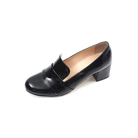 Comfortable Loafers Womens by Chic Beautiful Glossy Comfortable Bold 2 Inch Heels