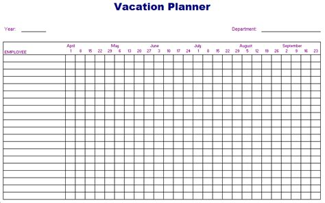 vacation template excel vacation planner template free layout format