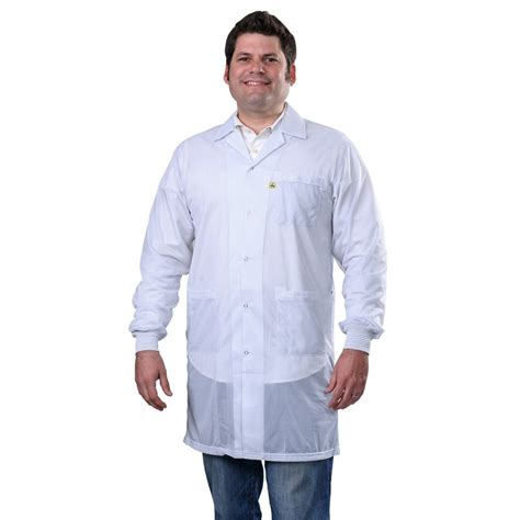 White Smock Jacket by Desco 73630 Statshield 174 Smock Lab Coat With Knitted