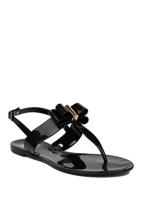 black bow flat sandals lyst cape robbin flat jelly t black bow sandals in