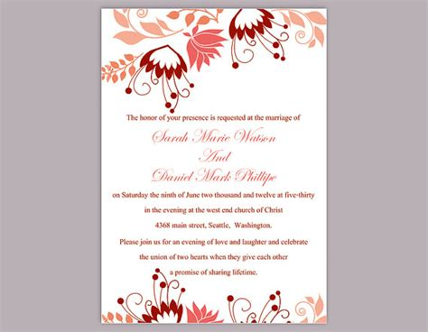 Diy Wedding Invitation Template Editable Word File Instant Download Peach Wedding Invitation Editable Wedding Invitation Templates Free