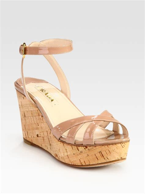 Mossimo Parry Patent Cork Slide Wedges by Lyst Prada Patent Leather And Cork Ankle Wedge