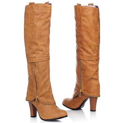 light brown knee high boots light brown pu zip heels knee high boots 009517 womens