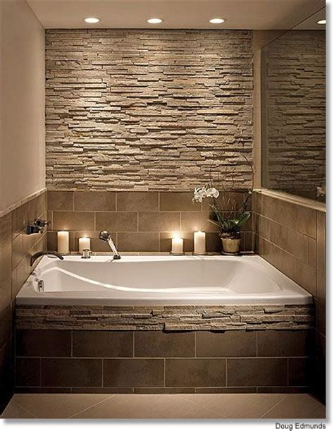 stone bathroom ideas bathroom stone wall and tile around the tub i d probably
