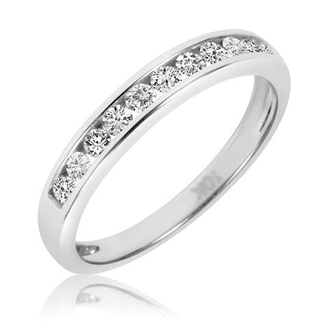 his and hers white gold wedding bands 5 8 carat t w his and hers wedding band set 14k