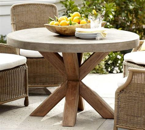 Pottery Barn Patio Table Abbott Concrete Top Fixed Dining Table Pottery Barn