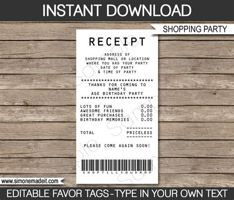 Template Credit Card Receipt Credit Card Receipt Favor Tags Receipt Tags Thank You Tags