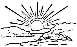 Sunset Drawing Outline by Clipart Etc