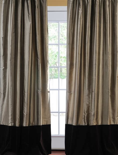 Gray And Brown Curtains Banded Silver Grey Thai Silk With Kona Brown Velvet Curtain Curtains San