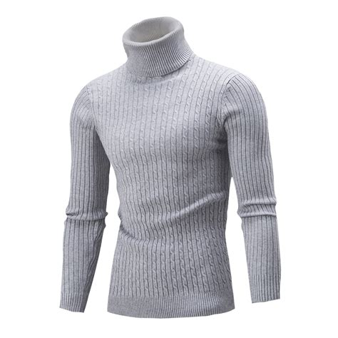Polo Knit Pullover fashion mens knitted polo roll turtle neck pullover