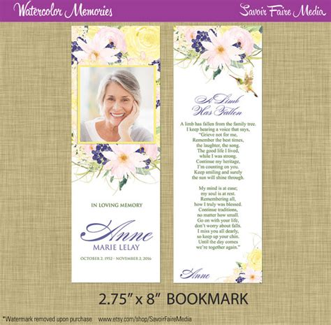 printable bookmarks for funerals funeral memorial bookmark and prayer card printable