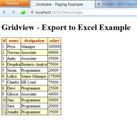 how to export data from gridview to excel sheet in c asp net export grid view to excel programmingfree
