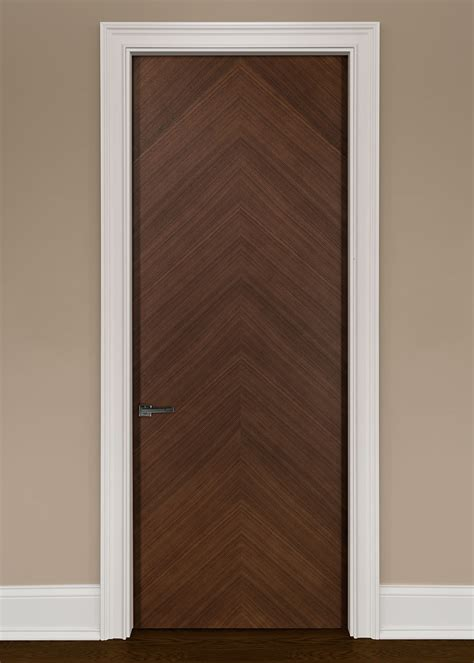 Modern Wood Doors Interior Modern Interior Door Custom Single Wood Veneer Solid Wood With Walnut Finish