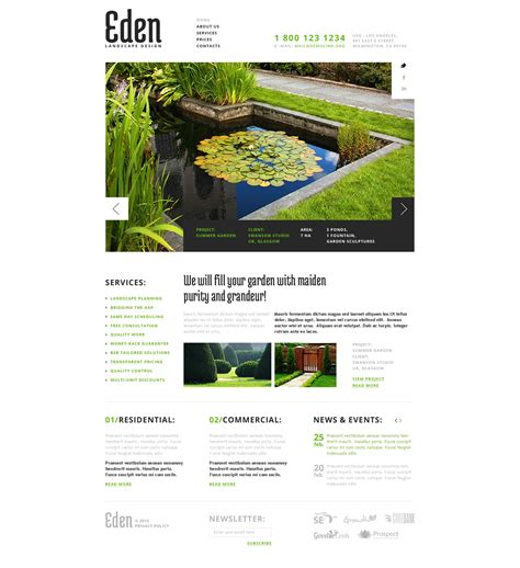 landscape design website landscape design responsive website template 43643