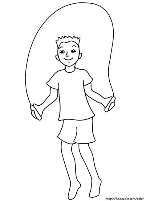boy jumping coloring page free printable jump rope coloring page clipart