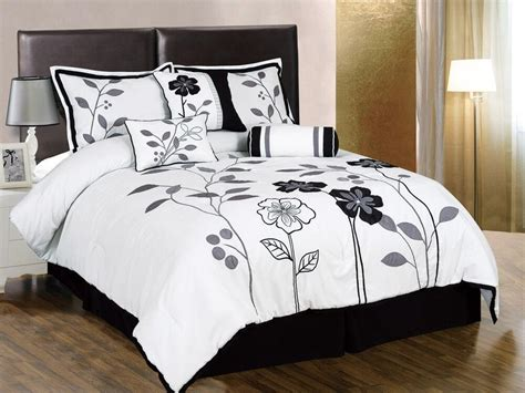 Black And White Bedding by 7pcs White Gray Black Embroidered Applique Floral