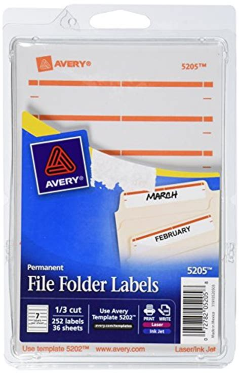 Avery Print Or Write File Folder Labels For Laser And Inkjet Prin Avery File Folder Template