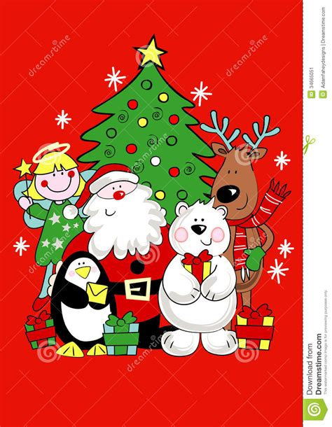 christmas friends stock vector image of penguin present
