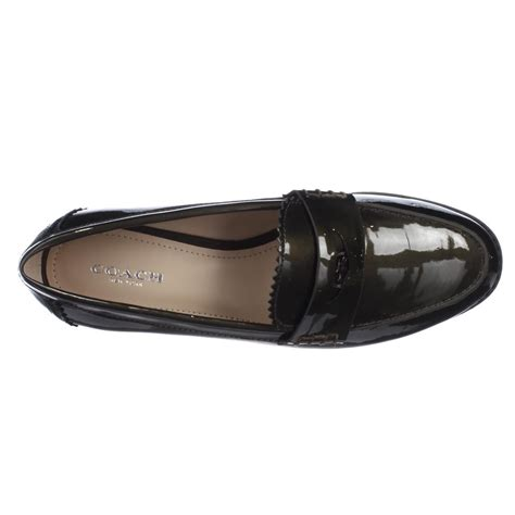 coach loafers coach peyton loafer flats in green lyst