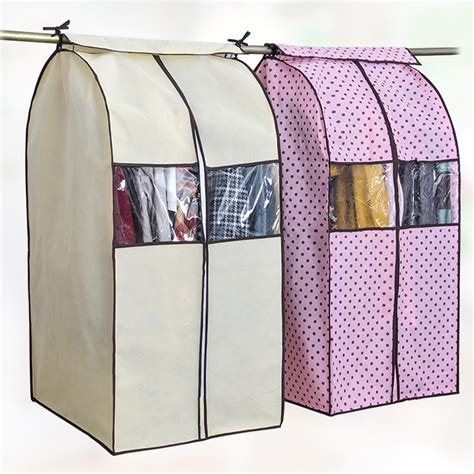 Cloth Dust Cover Pakaian Hanger Bag Organizer Yax large capacity cloth hanging suit coat dust cover protector wardrobe storage bag in storage bags