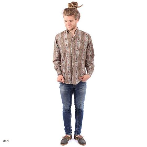hippie mens fashion trends vintage boho mens shirt antique print cotton by