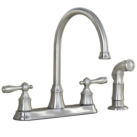 lowes faucets kitchen shop aquasource stainless steel pvd 2 handle high arc kitchen faucet with side spray at lowes