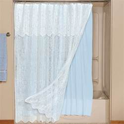 white lace shower curtain attached valance blue liner