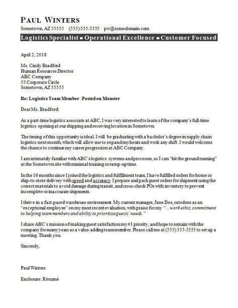 logistics cover letter sample monstercom