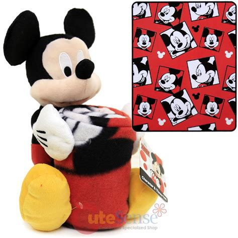 mickey mouse pillow and blanket set disney mickey mouse fleece throw blanket with plush doll