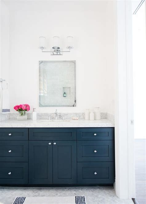 Navy Vanity | navy washstand with carrera marble countertop