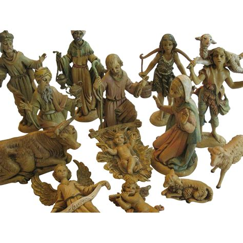 vintage early fontanini nativity figurines 14 piece set
