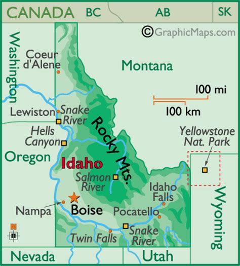 idaho physical map idaho outline maps and map links