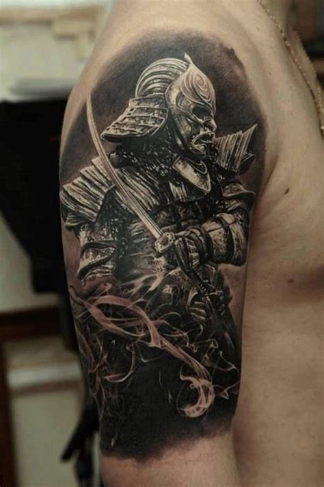 samurai tattoo black and grey black and grey samurai warrior with sword tattoo on right
