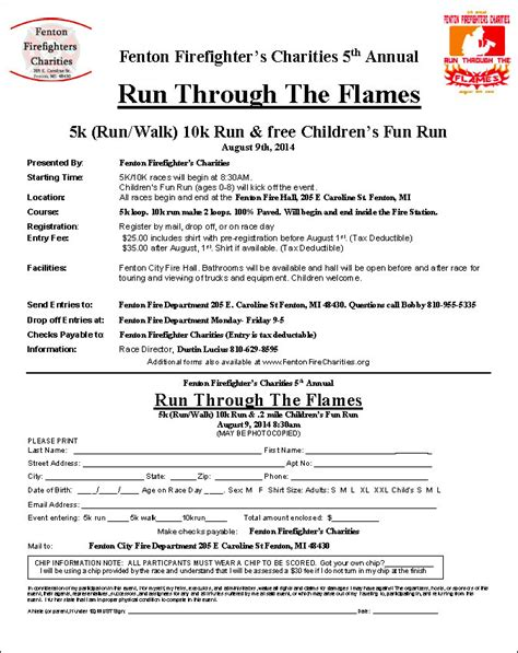 race registration form template 5k 10k running fenton firefighter charities