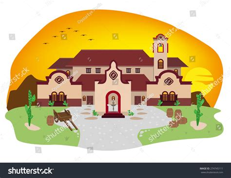 spanish house music cartoon illustration of spanish mediterranean house or