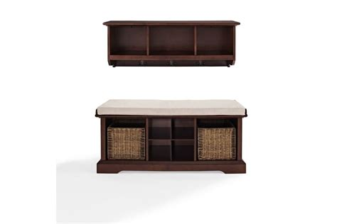 entryway shelf and bench brennan 2 piece entryway bench and shelf set in mahogany