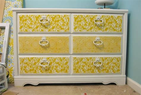 Decoupage Dresser With Fabric - modge podge dresser furniture makeover ideas