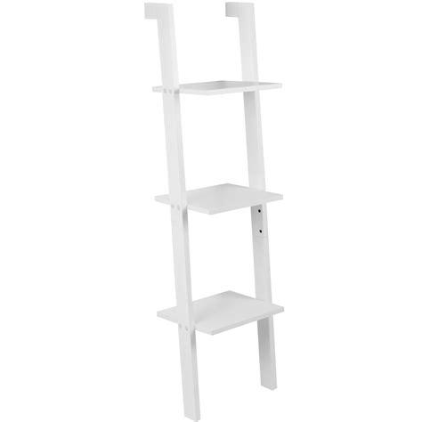 hartleys 3 tier white leaning ladder wall shelf shelving
