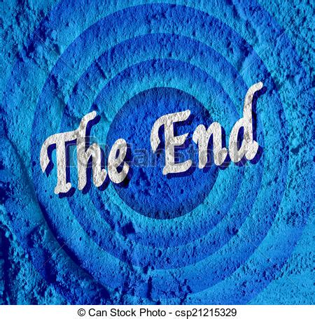 blue ending clip of the end ending screen on cement wall