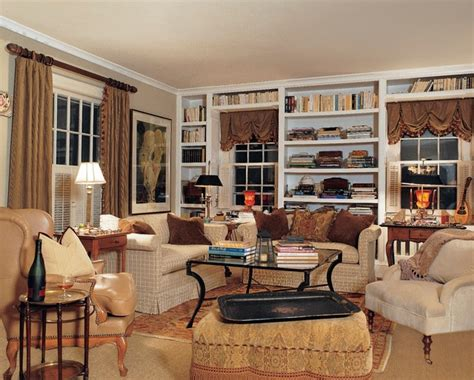 Colorful Bookcases English Cottage Traditional Living Room New York