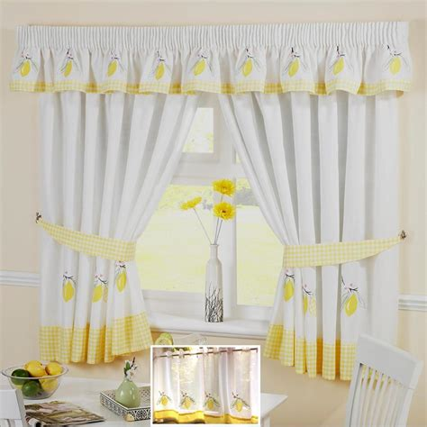yellow and white kitchen curtains yellow lemon voile cafe net curtain panel kitchen curtains
