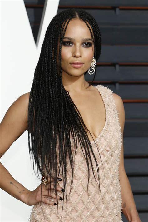 zoe kravitz style braids zo 235 kravitz black mini braids hairstyle steal her style