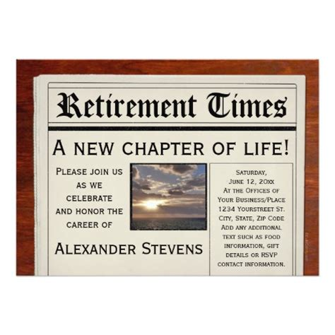 design a retirement flyer retirement party fun newspaper invitation 5 quot x 7