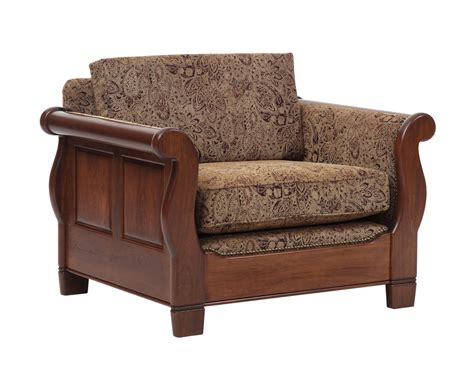 sleigh sofa chair with single back cushion gish s amish